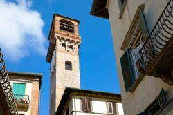 Lucca, Italy , wiew of the Torre Delle Ore (closk tower) n the old town