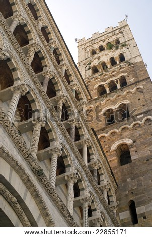 Lucca (Tuscany, Italy) - Facade and belfry of the cathedral
