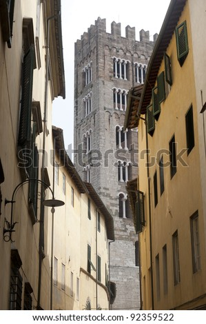 Lucca (Tuscany, Italy), old street and tower