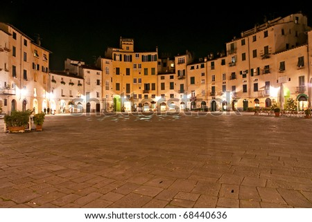 Lucca - view of StLucca - Piazza Anfiteatro at night. Tuscany, italy. Martin's Cathedral