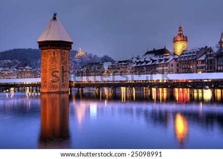 Lucerne/Luzern winter-night, Switzerland