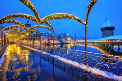 Lucerne Old town, Switzerland, decorated with Christmas lights in winter
