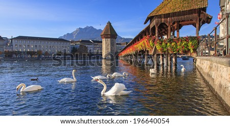 Lucerne Switzerland the Chapel Bridge in early morning