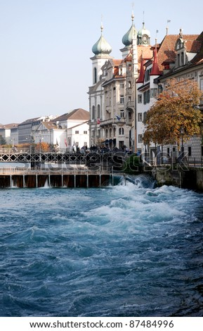 Lucerne, Switzerland, view the city in the autumn afternoon