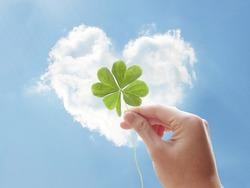 luck clover hand heart cloud