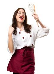 Lucky beautiful chef woman