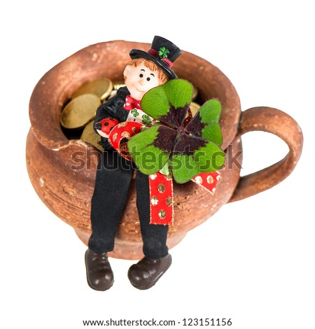 Lucky charm Chimney sweep with clover leaf on white background. Good luck for New Year. Selective focus
