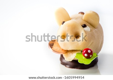 lucky charm marzipan pig  isolated