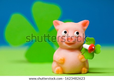 Lucky charm pig of marzipan