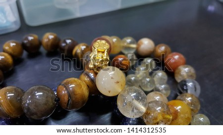 Lucky Charming gemstone beads bracelet,  Chinese style amulet for healthy and wealthy with the golden Pixiu or Pi Yao from China