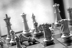 Lucky chess game business strategy concept.  Black and white game with copy space.  Strategist and plan your road to victory.