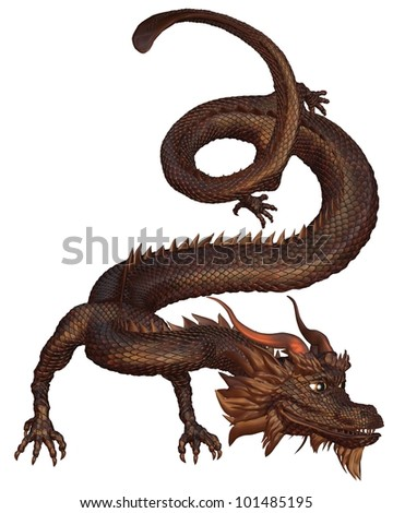 Lucky Chinese Dragon with bronze metal scales, 3d digitally rendered illustration