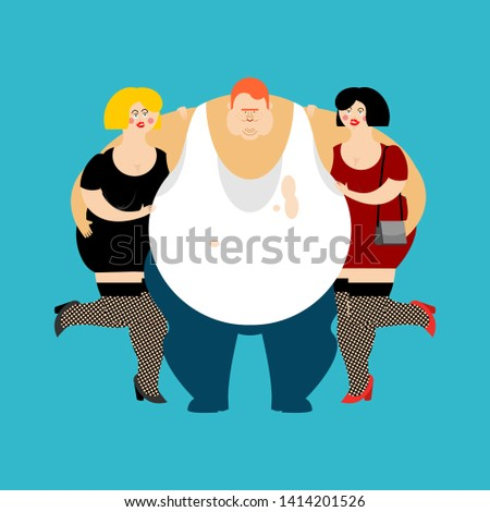 lucky Fat guy and girls. Glutton Thick man and women. fatso