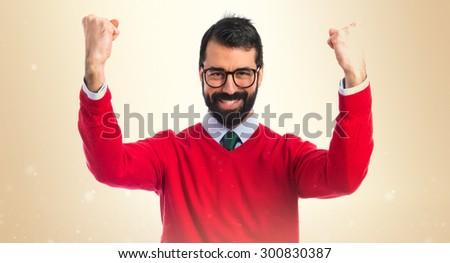 lucky hipster man over ocher...