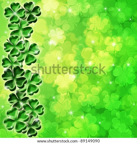 Lucky Irish Four Leaf Clover Shamrock Sparkles on Blurred Background Illustration