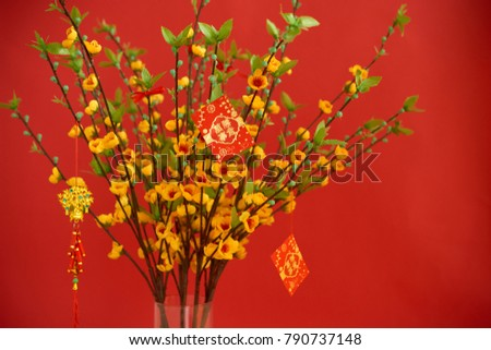 Lucky red envelopes hanging on blooming apricot tree; couples with best wishes for upcoming year on cards #790737148