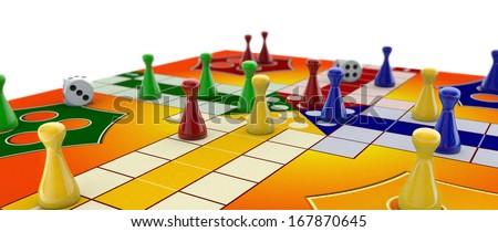 Ludo board game on white