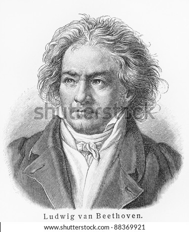 Ludwig van Beethoven -  Picture from Meyers Lexicon books written in German language. Collection of 21 volumes published between 1905 and 1909.