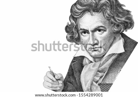 Ludwig van Beethoven was a German pianist and composer widely considered to be one of the greatest musical geniuses of all time. Portrait on Test Note 1 OPTI SPECIMEN, Test Note De La Rue banknotes.