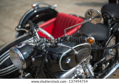 LUDWIGSBURG, GERMANY - MAY 5: A BMW classic sidecar motorbike is presented during the eMotionen show on the market square on May 5, 2013 in Ludwigsburg, Germany.