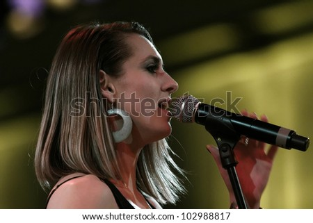 "LUDWIGSBURG, GERMANY - MAY 7: Singer ""Iva Zalac"" live in concert on stage at the festival ""Session Possible"" May 7, 2012 in Ludwigsburg, Germany"