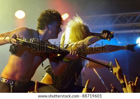 LUDWIGSBURG, GERMANY - NOVEMBER 6: Member of the rock group KISSIN DYNAMITE performs in concert at Swabia Rocks Festival Ludwigsburg on November 6, 2011 in Stuttgart, Germany