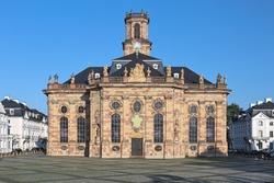 Ludwigskirche in Saarbrucken, Germany. The Lutheran baroque-style church was built in 1762-1775. It was named after Louis (Ludwig), Prince of Nassau-Saarbrucken.