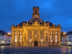 Ludwigskirche in Saarbrucken in dusk, Germany. The Lutheran baroque-style church was built in 1762-1775. It was named after Louis (Ludwig), Prince of Nassau-Saarbrucken.