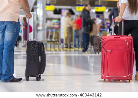 luggage at the airport terminal.