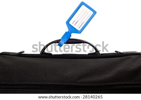 Luggage bag with identification tag isolated on white background