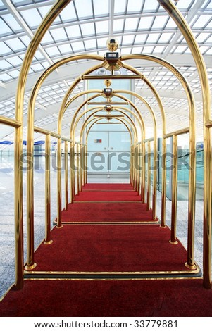 luggage cart in beijing T3 airport - stock photo
