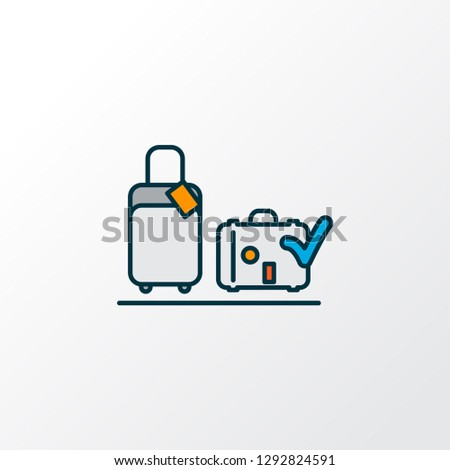 Luggage check icon colored line symbol. Premium quality isolated valise element in trendy style.