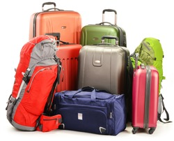 Luggage consisting of large suitcases rucksacks and travel bag isolated on white