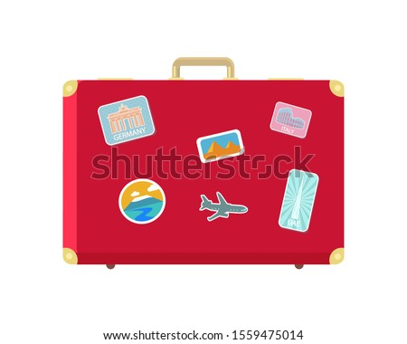 Luggage for long traveling and journey isolated icon raster. Valise with stickers of aircraft and Berlin gates. Egypt and Roman landmarks in pics