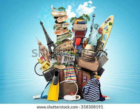 Luggage, goods for holidays, leisure and travel - Shutterstock ID 358308191