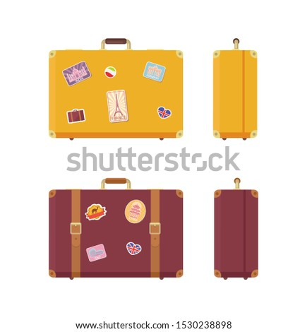 Luggage journey and vacation valises set raster. Traveling baggage, cases with stickers of Egyptian camel, Eiffel Tower and Indian Taj Mahal Germany