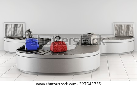 Luggage on the conveyor. Baggage claim. 3d rendering.