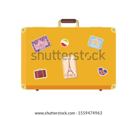 Luggage time to travel with valise decorated with stickers isolated icons set raster. Vacation suitcase for personal things, bag with Eiffel tower