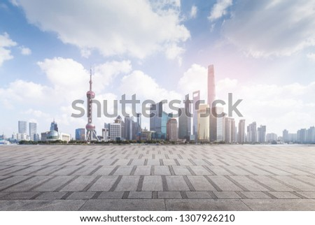 Lujiazui Bund Road, Shanghai, China #1307926210