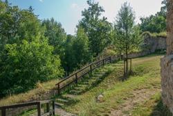 Lukov. Castle ruins. Staircase around castle walls. Eastern Moravia. Europe.
