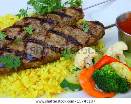 Lula (Spiced Ground Lamb) Kebab Stock Photo 15743107 : Shutterstock