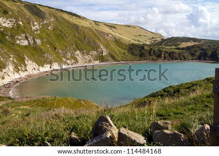 Lulworth Cove Dorset on the route of the South-West coastal path and 1 mile from Durdle Door