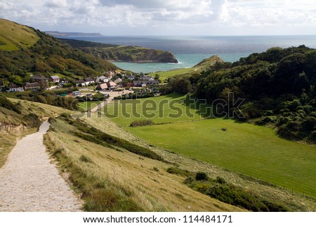 Lulworth Cove Dorset photographed from the route of the South-West coastal path
