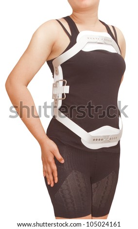 Lumbar jewet braces ,hyperextension brace for back trauma or fracture thoracic and lumbar spine on  isolated background