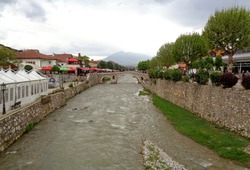 Lumbardhi river and the famous stone bridge at the Old City of Prizren, Kosovo