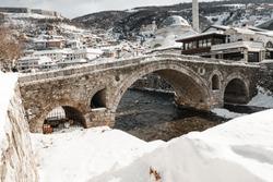 Lumbardhi river at the old city of Prizren, Kosovo in winter season at morning
