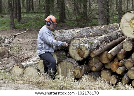 Lumberjack with a chain near a pile of logs