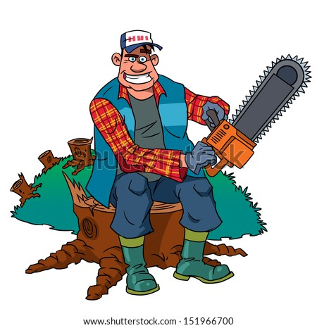Lumberjack worker with chainsaw at forest  - stock photo