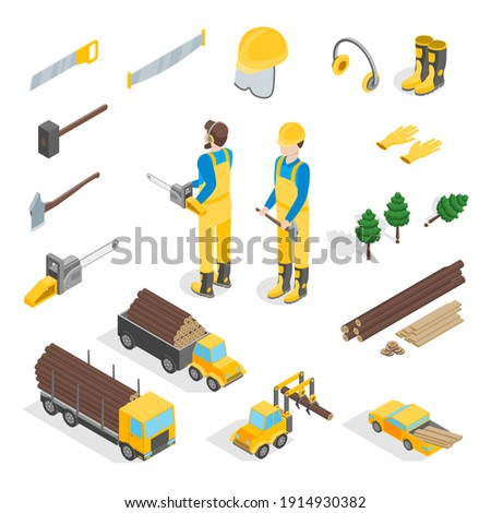 Lumberman Woodcutter Signs 3d Icons Set Isometric View Include of Ax, Lumber and Tools. illustration of Icon Stock photo ©