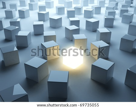 Luminous cube. Symbol of individualism